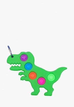Брелок Hatparad антистресс POP IT SIPMPE DIMPLE Fidget Sensory DINO. Цвет: зеленый