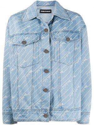 Джинсовая куртка с монограммой House of Holland. Цвет: синий