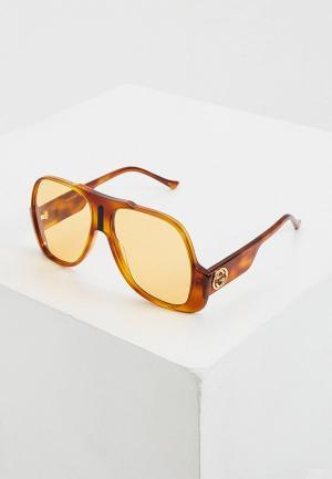 Очки солнцезащитные Gucci GG0785S. Цвет: коричневый