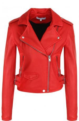 Однотонная кожаная куртка с косой молнией Iro. Цвет: красный