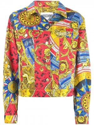 Джинсовая куртка с принтом Moschino