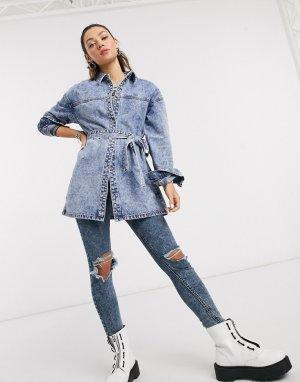 Синяя джинсовая куртка с поясом -Голубой Noisy May