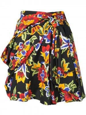 Мини-юбка с драпировкой и цветочным принтом Carolina Herrera. Цвет: черный