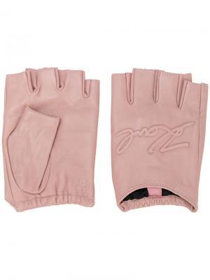 Перчатки без пальцев с логотипом Karl Lagerfeld. Цвет: розовый