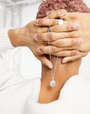 Тонкое ожерелье-цепочка с подвеской-монетой посеребрением -Серебристый ASOS DESIGN