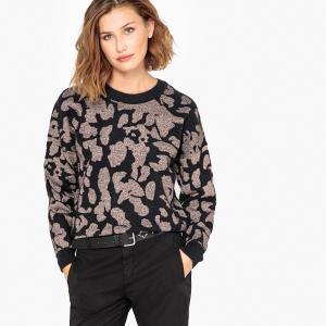 Пуловер с круглым вырезом из тонкого трикотажа SELECTED FEMME. Цвет: серо-коричневый/ черный