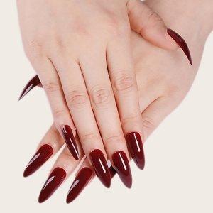 Накладные ногти 24шт и 1 лист ленты SHEIN. Цвет: бургундия