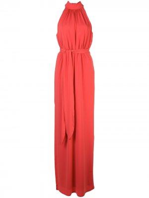 Платье со сборками Halston Heritage. Цвет: красный