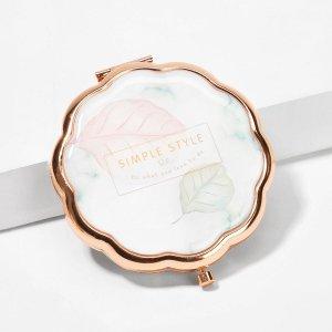 Портативное зеркало для макияжа с принтом текстовым и листьев SHEIN. Цвет: многоцветный