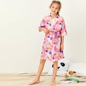 Разноцветный халат с поясом для девочек SHEIN. Цвет: многоцветный