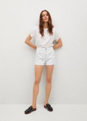 Джинсовые шорты mom-fit - Mom80 Mango. Цвет: белый