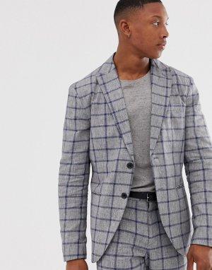 Приталенный пиджак из хлопка и льна в клетку -Серый Selected Homme