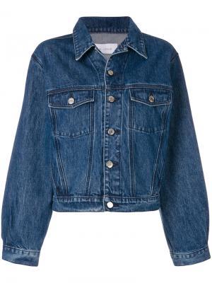 Джинсовая куртка с оборкой Iro. Цвет: синий