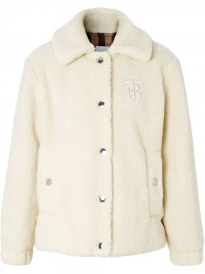 Monogram-embroidered fleece jacket Burberry. Цвет: белый