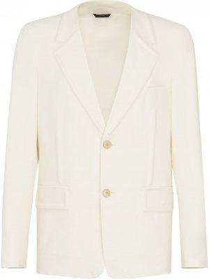 Однобортный пиджак с тиснением Fendi. Цвет: белый