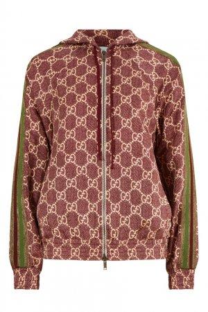 Шелковая олимпийка с капюшоном Gucci. Цвет: розовый