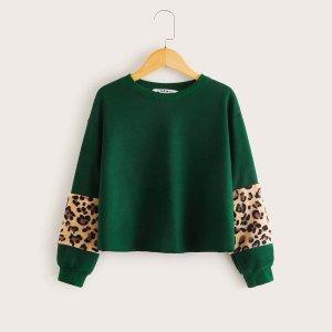 Пуловер с леопардовой вставокй для девочек SHEIN. Цвет: зелёные