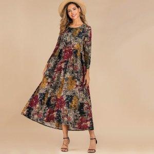 Платье с двумя карманами и принтом тушью SHEIN. Цвет: многоцветный