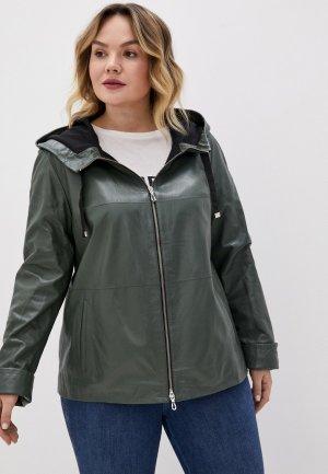 Куртка кожаная Le Monique. Цвет: зеленый