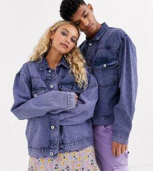 Фиолетовая джинсовая куртка COLLUSION Unisex-Фиолетовый
