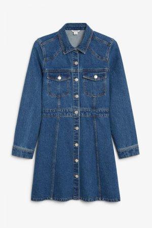 Джинсовое мини-платье Monki. Цвет: синий