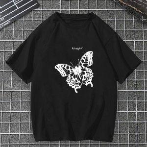 Мужская футболка с принтом бабочки SHEIN. Цвет: чёрный