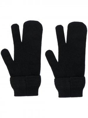 Перчатки Tabi с декоративной строчкой Maison Margiela. Цвет: черный