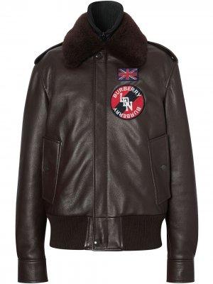 Куртка-бомбер со съемным воротником из овчины Burberry. Цвет: коричневый