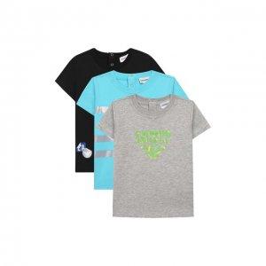 Комплект из трех футболок Emporio Armani. Цвет: разноцветный
