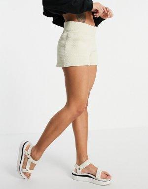 Кремовые пляжные шорты вязки кроше (от комплекта) Nanna-Белый Weekday