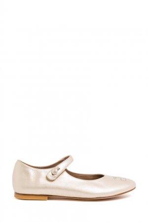 Золотистые кожаные туфли Bonpoint. Цвет: золотой