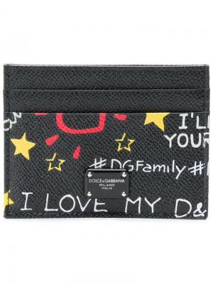 Визитница с принтом Murales Dolce & Gabbana. Цвет: черный