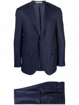 Шерстяной костюм с однобортным пиджаком Corneliani. Цвет: синий
