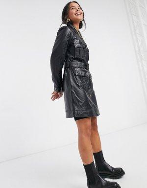 Черная кожаная куртка с поясом -Черный Muubaa
