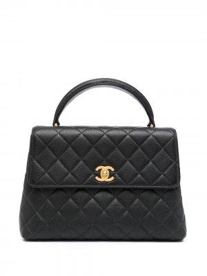 Маленький стеганый портфель 1997-го года Chanel Pre-Owned. Цвет: черный