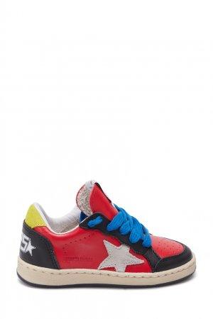 Комбинированные кожаные кроссовки Bonpoint. Цвет: multicolor
