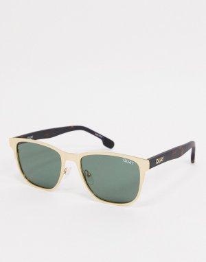 Мужские квадратные солнцезащитные очки в золотистой и черепаховой оправе с зелеными линзами Quay Monte Carlo-Золотой Australia