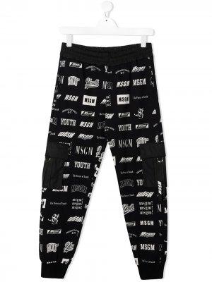 Спортивные брюки с логотипом Msgm Kids. Цвет: синий