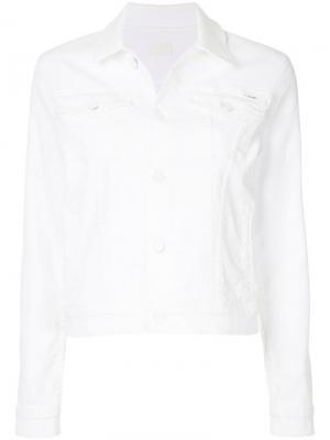 Укороченная джинсовая куртка Mother. Цвет: белый