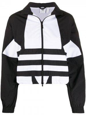 Куртка на молнии в стиле колор-блок adidas. Цвет: черный