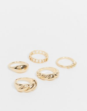 Набор из пяти золотистых колец Chateau-Золотистый Monki