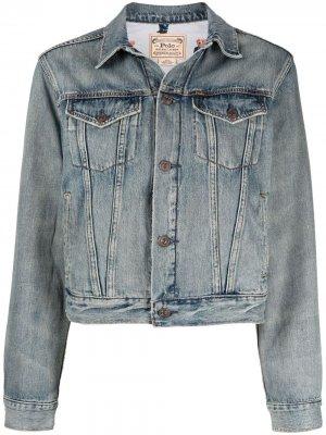 Джинсовая куртка с принтом Polo Ralph Lauren. Цвет: синий