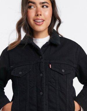 Черная джинсовая куртка бойфренда с искусственным мехом Levis-Черный Levi's