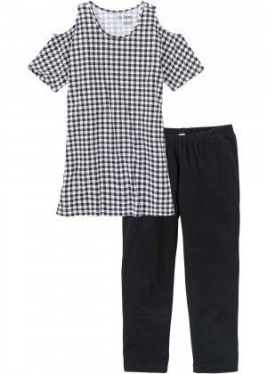 Пижама с легинсами капри bonprix. Цвет: черный