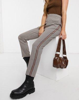 Коричневые брюки в клетку с полоской сбоку-Коричневый BB Dakota