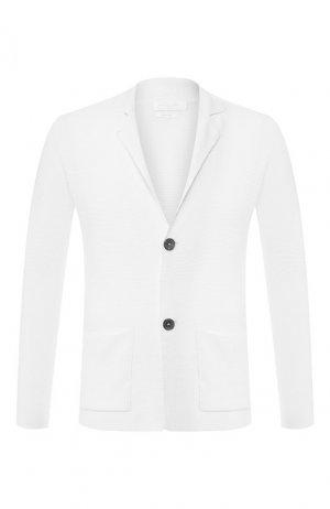 Хлопковый пиджак Daniele Fiesoli. Цвет: белый