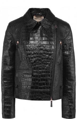 Кожаная куртка с косой молнией Roberto Cavalli. Цвет: черный