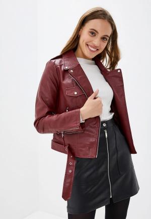 Куртка кожаная Softy. Цвет: бордовый
