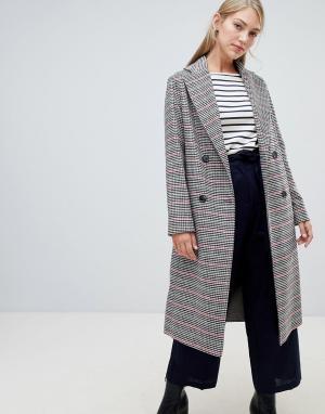 Двубортное пальто в клетку с добавлением шерсти Helene Berman. Цвет: мульти