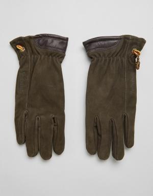 Коричневые перчатки из нубука Timberland. Цвет: коричневый